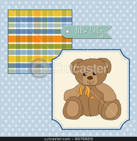 baby shower card with teddy bear toy stock photo, baby shower card with teddy bear toy by balasoiu