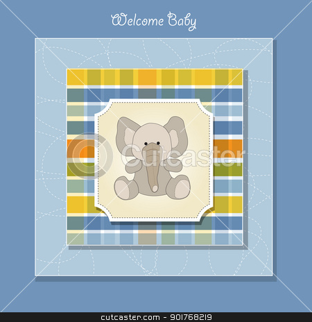 welcome baby card with elephant stock vector clipart, welcome baby card with elephant by balasoiu