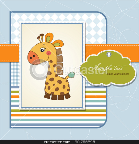 new baby announcement card with giraffe stock vector clipart, new baby announcement card with giraffe by balasoiu