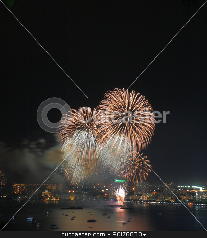 Fireworks at Pattaya beach stock photo, Fireworks at Pattaya beach,Pattaya city Thailand  by kongsky