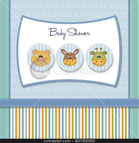 baby shower card with toys stock vector clipart, baby shower card with toys by balasoiu
