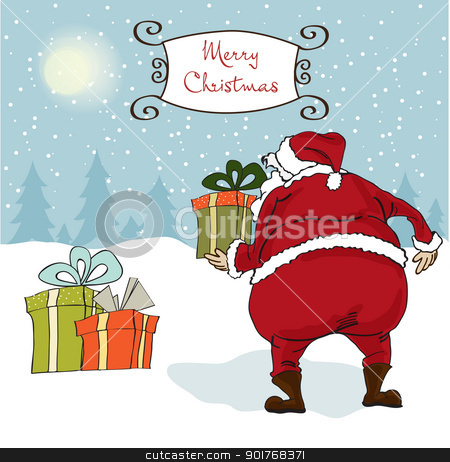 Santa coming, Christmas greeting card stock vector clipart, Santa coming, Christmas greeting card by balasoiu