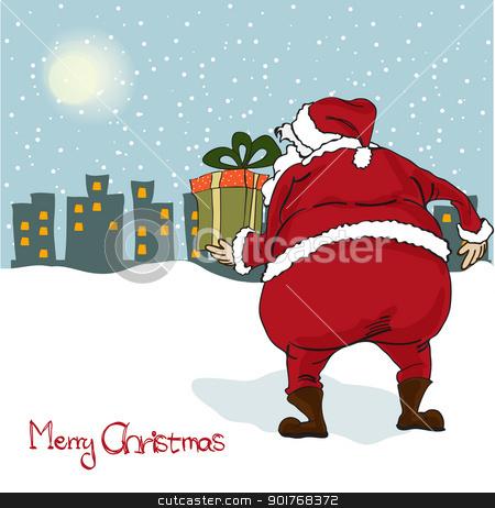 Santa coming, Christmas greeting card stock vector clipart, Santa coming, Christmas greeting card by balasoiu