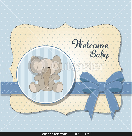 new baby card with elephant stock vector clipart, new baby card with elephant by balasoiu