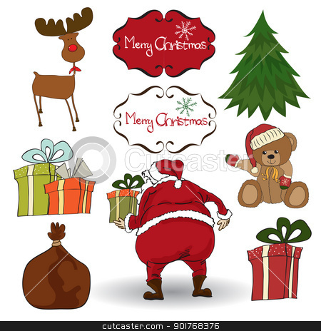 Christmas elements set isolated on white background stock vector clipart, Christmas elements set isolated on white background by balasoiu
