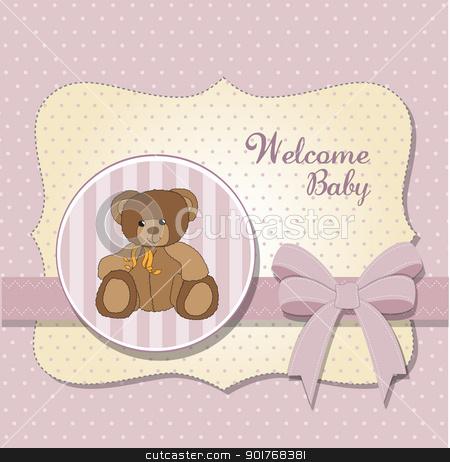 new baby announcement card with teddy bear stock vector clipart, new baby announcement card with teddy bear by balasoiu