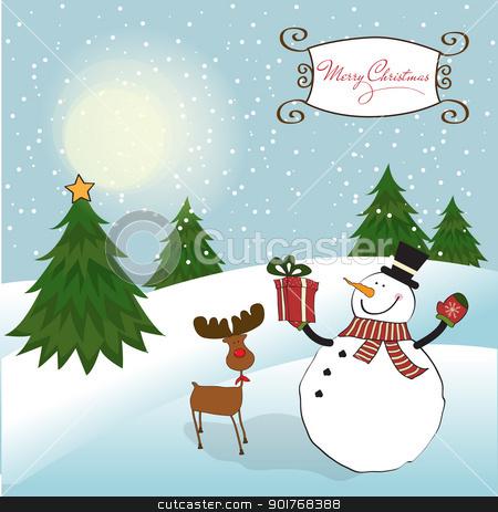 Christmas greeting card with snowman stock vector clipart, Christmas greeting card with snowman by balasoiu
