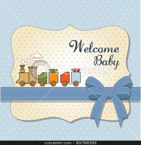 baby shower card with toy train stock vector clipart, baby shower card with toy train by balasoiu