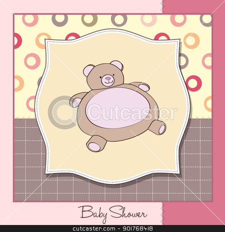 baby shower card with teddy stock vector clipart, baby shower card with teddy by balasoiu