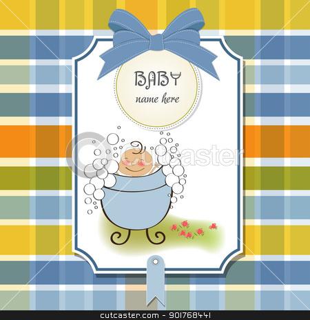 baby boy shower card stock vector clipart, baby boy shower card by balasoiu