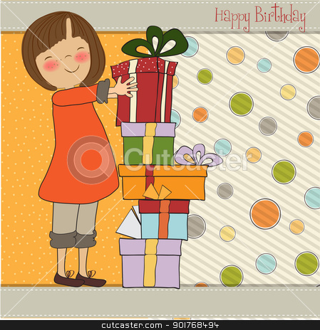 young girl with gift stock vector clipart, young girl with gift by balasoiu