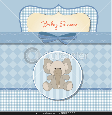 romantic baby shower card stock vector clipart, romantic baby shower card by balasoiu