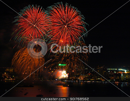Fireworks at Pattaya beach stock photo, Fireworks at Pattaya beach,Pattaya city Thailand  by kongsky