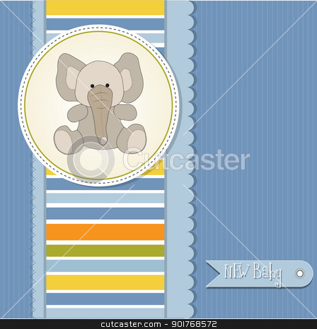 new baby boy announcement card with elephant stock vector clipart, new baby boy announcement card with elephant by balasoiu