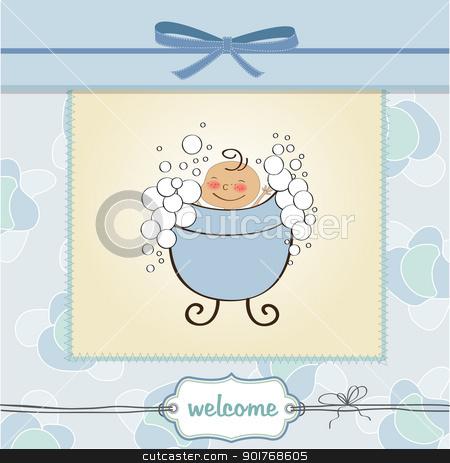 delicate baby boy shower card stock vector clipart, delicate baby boy shower card by balasoiu