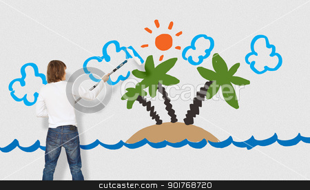 Picture of tropical island and ocean stock photo, Picture of tropical island and ocean on the wall by Sergey Nivens