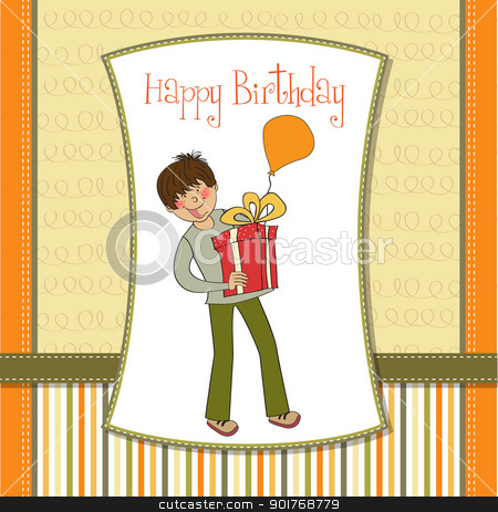 greeting card with boy and big gift box stock vector clipart, greeting card with boy and big gift box by balasoiu