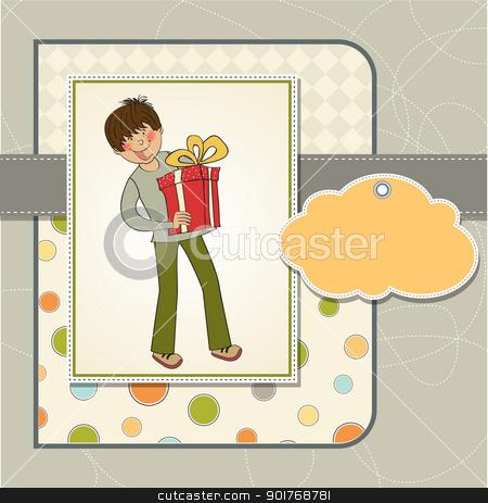 greeting card with boy and big gift box stock vector clipart, greeting card with boy and big gift box by balasoiu