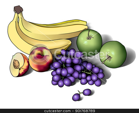 Still life with fruits stock vector clipart, realistic eps 10 vector illustration of fruits by kristyna
