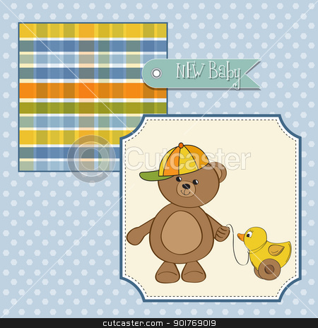 welcome baby card with boy teddy bear and his duck stock vector clipart, welcome baby card with boy teddy bear and his duck by balasoiu