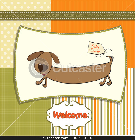 funny baby shower card with long dog stock vector clipart, funny baby shower card with long dog by balasoiu