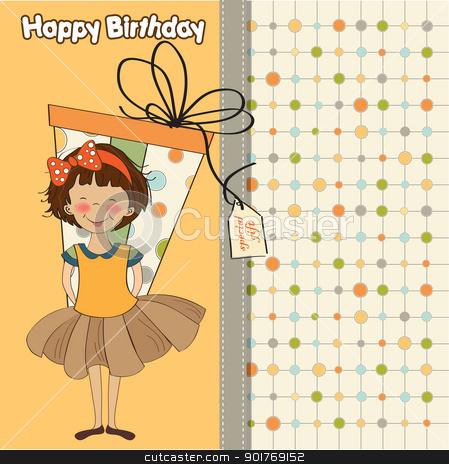 pretty young girl she hide a big gift stock vector clipart, pretty young girl she hide a big gift by balasoiu