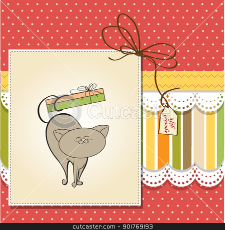 baby shower card with cat stock vector clipart, baby shower card with cat by balasoiu