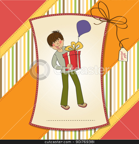 birthday card with boy and big gift box stock vector clipart, birthday card with boy and big gift box by balasoiu