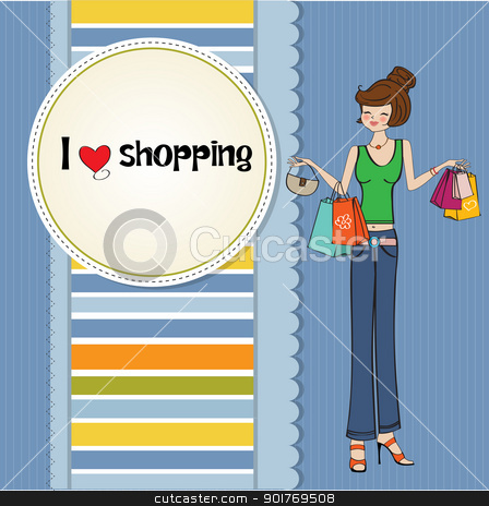 pretty young lady at shopping stock vector clipart, pretty young lady at shopping by balasoiu
