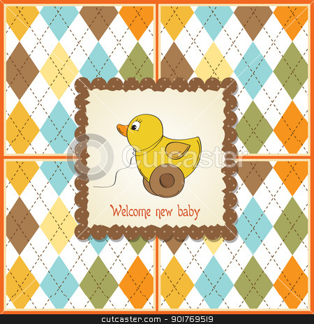 welcome card with duck toy stock vector clipart, welcome card with duck toy by balasoiu