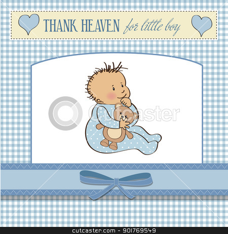 baby announcement card with little boy stock vector clipart, baby announcement card with little boy by balasoiu