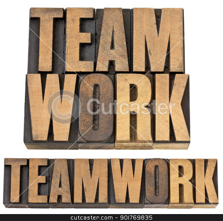 teamwork word in wood type stock photo, teamwork - isolated text in vintage letterpress wood type, two layouts by Marek Uliasz