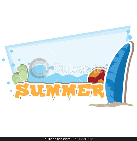 summer background stock vector clipart, summer background with beach items theme by glossygirl21