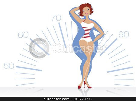 Dieting woman stock vector clipart, Vector illustration of a slendering women on scale background by Vanda Grigorovic