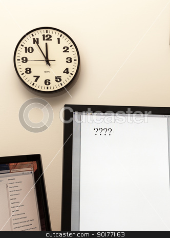 Urgency in making decision with clock  stock photo, Concept for urgent decision making with clock on paper and question mark on pad by Steven Heap