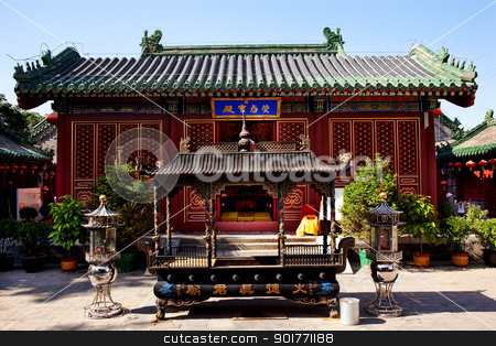 Guanghua Buddha Temple Incence Burner Beijing China stock photo, Guanghua Buddha Temple Incense Burner Beijing China Famous Buddhist Temple on Houhai Lake, Beijing, China by William Perry