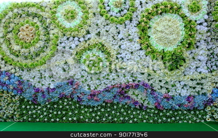 Green backdrop stock photo, Beautiful Green backdrop flowers arrangement background.  by kongsky