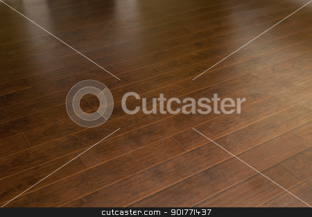 Newly Installed Brown Laminate Flooring in Home stock photo, Beautiful Newly Installed Brown Laminate Flooring in Home. by Andy Dean