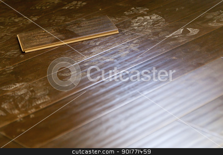 Newly Installed Dusty Brown Laminate Flooring stock photo, Newly Installed Dusty Brown Laminate Flooring Abstract. by Andy Dean
