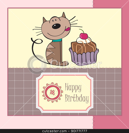 birthday greeting card with a cat waiting to eat a cake stock vector clipart, birthday greeting card with a cat waiting to eat a cake by balasoiu