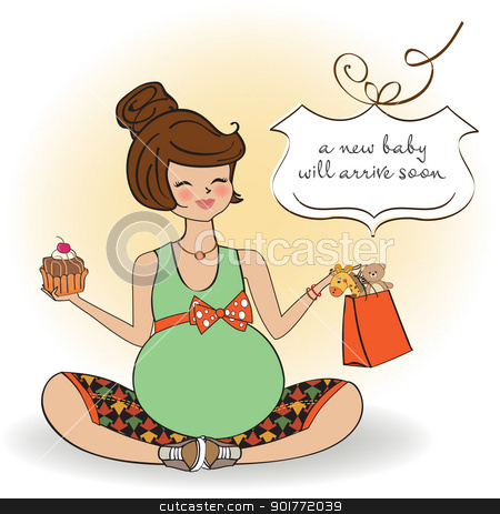 Beautiful pregnant woman stock vector clipart, Beautiful pregnant woman by balasoiu
