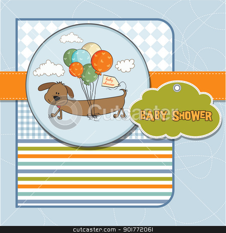 baby shower card with long dog and balloons stock vector clipart baby