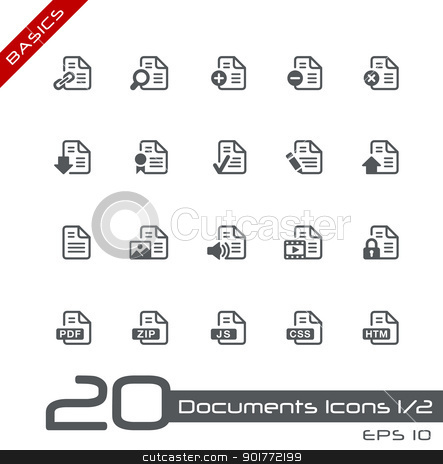 Documents Icons - 1 of 2 // Basics  stock vector clipart, Vector icons set for your web or presentation projects. by Diego Alies