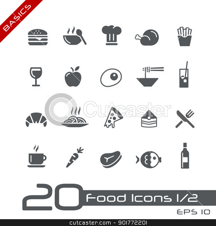 Food Icons - Set 1 of 2 // Basics  stock vector clipart, Vector icons set for your web or presentation projects. by Diego Alies