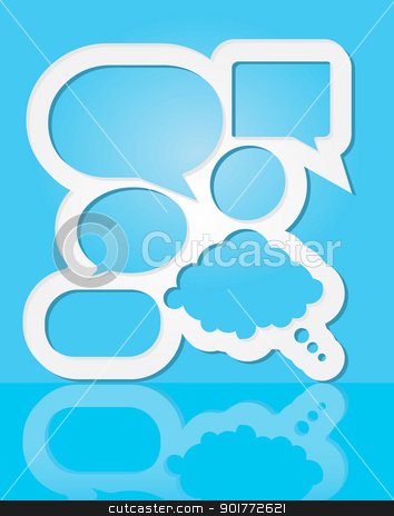 Speech Bubbles stock vector clipart, Abstract Design - Speech Bubbles With Copyspace on Blue Background by JAMDesign