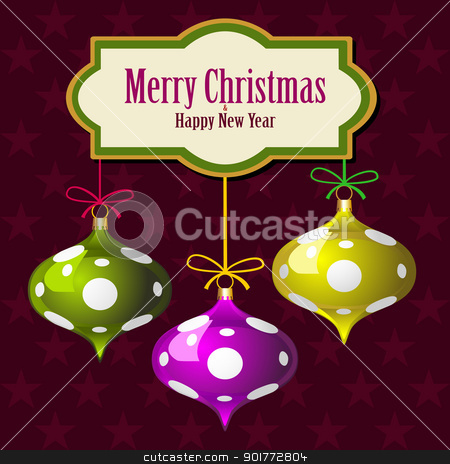 Christmas stock vector clipart, Christmas star background with colorful balls by Ela Kwasniewski