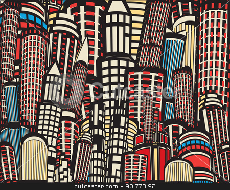 Colorful cartoon city stock vector clipart, Colorful editable vector illustration of tall city buildings by Robert Adrian Hillman