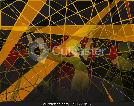 Disco mosaic stock vector clipart, Editable vector silhouettes of people dancing at a disco in batik mosaic style by Robert Adrian Hillman