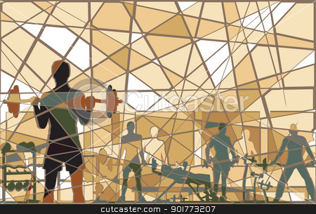Mosaic gym stock vector clipart, Editable vector batik mosaic design of people exercising in a gym by Robert Adrian Hillman