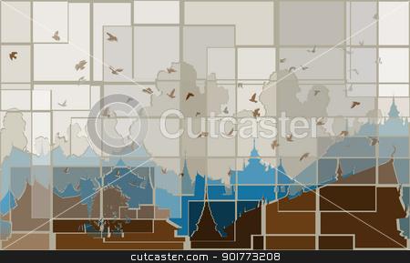 Mosaic orient stock vector clipart, Editable vector mosaic design of birds over a generic east asian city by Robert Adrian Hillman